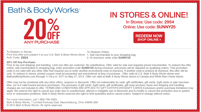 Pinned May 22nd 20 Off At Bath Body Works Or Online Via Promo Code Sunny25 Coupon Via The Coupons App Bath And Body Works Money Saver It Works