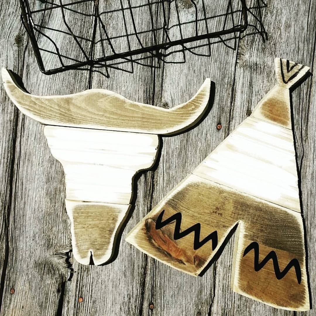Tribal wood sign tribal nursery bull skull handcrafted wall