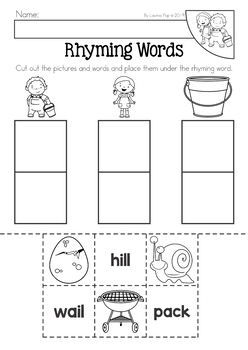 Jack and Jill Nursery Rhyme Worksheets and Activities ...