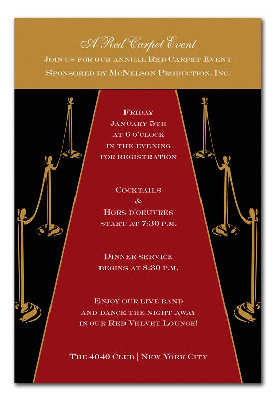 Gold Red Carpet Invitations By Invitation Consultants