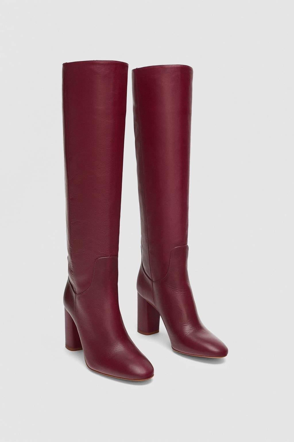 d4584b0759f Image 1 of HIGH HEELED LEATHER BOOTS from Zara
