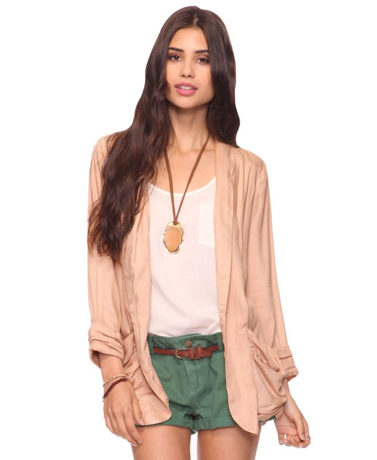 light layering jacket in nude.