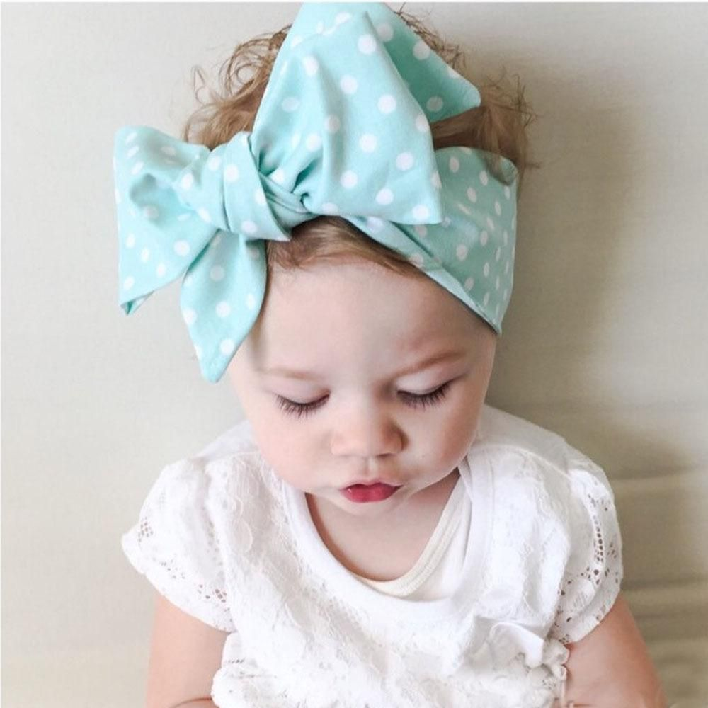 2207e3ea1a1fb Vintage Style Infant Baby Girls Polka Dots Floral Bow Headbands ...