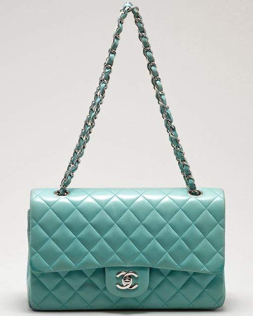 Chanel Classic Flap bag in Turquoise.. It reminds me of the ocean ...