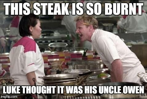Funny Memes For Uncles : Angry chef gordon ramsay this steak is so burnt luke thought it