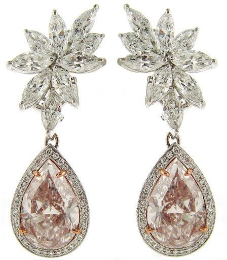 Jean & Alex, bespoke diamond marquise earrings with detachable pink diamond ear pendants.  Full photos will be on DeliverMeDiamonds.com next week.