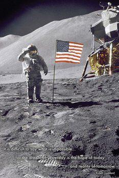 Footprints On The Moon Original Apollo 11 Rare Poster Astronauts & Space Travel 1960-69