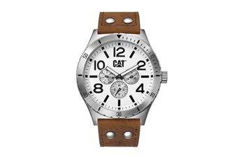 Relógio quartzo de couro - Castanho e prateado
