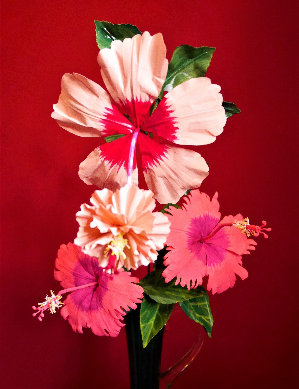 Rosa Sinensus Hibiscus Paper Flower Templates Video Etsy Paper Flowers Paper Flower Template Flower Template