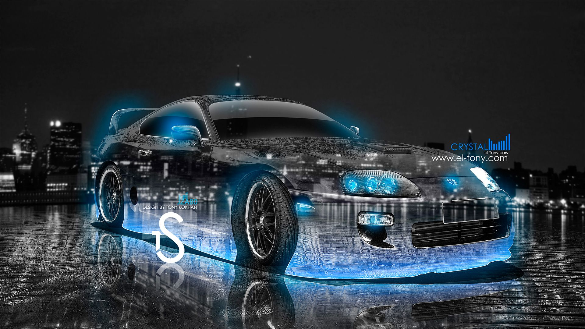 Toyota Supra Crystal City Car 2013 Blue Neon HD Wallpapers Design By Tony Kokhan El 1920x1080