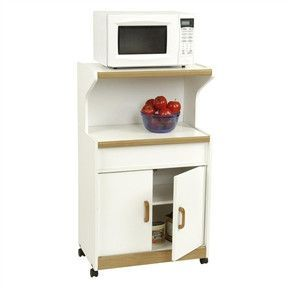 Kitchen Microwave Cart in White with Oak Finish Accents
