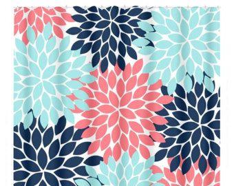 Coral Navy Aqua Shower Curtain Flower Burst Petals Custom
