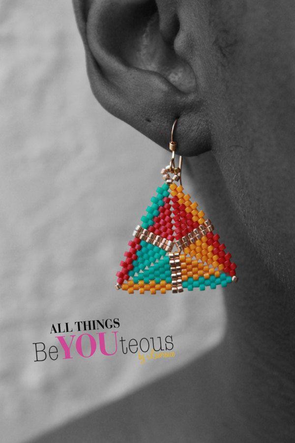Cyan, Magenta, Yellow... Gold?: Geometric Handmade Beaded Earrings