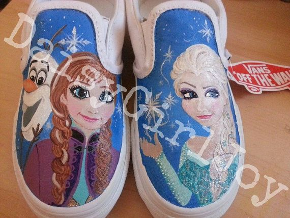 2fb23775f4a2ae Adult Vans Brand Custom hand painted Disney Frozen Shoes on Etsy ...