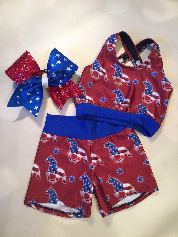 The Patriotic Unicorn crop top sport bra spandex Etsy