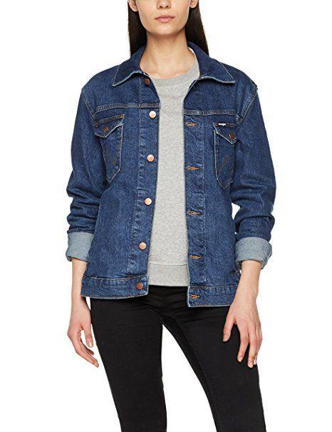 Wrangler Damen Jacke Regular Jacket, Blau (Darkstone 090), Small - Jeansjacke  frauen