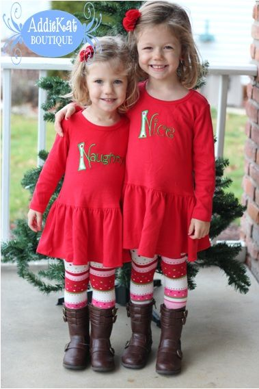 custom matching coordinating naughty and nice sibling christmas dresses perfect for sisters twins matching sibling dresses christmas coordinating
