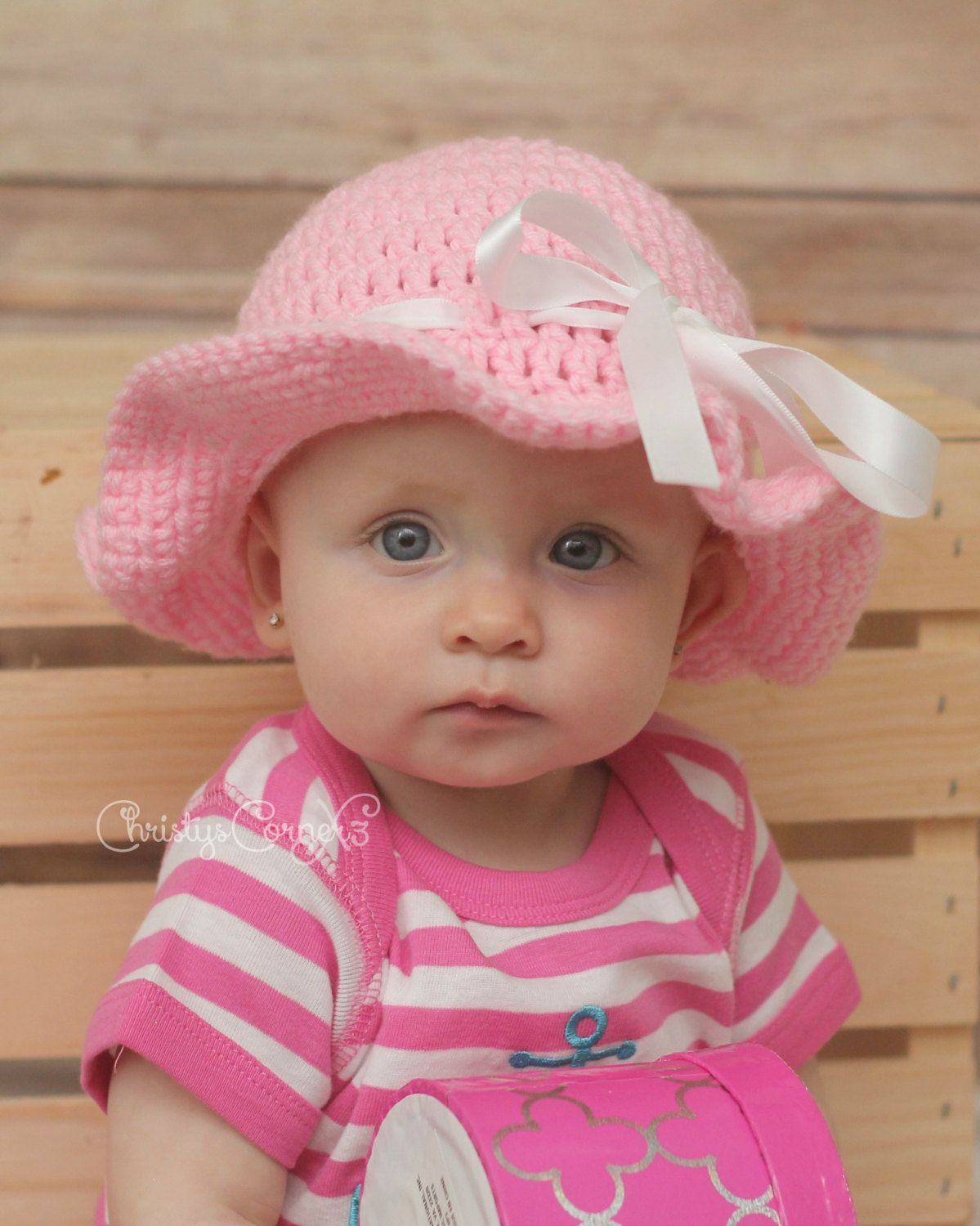 7229c52d302 ... Crochet Sun Hat Bucket Style Beach Sunhat Beanie with Ribbon Made to  Order Infant to Adult ...