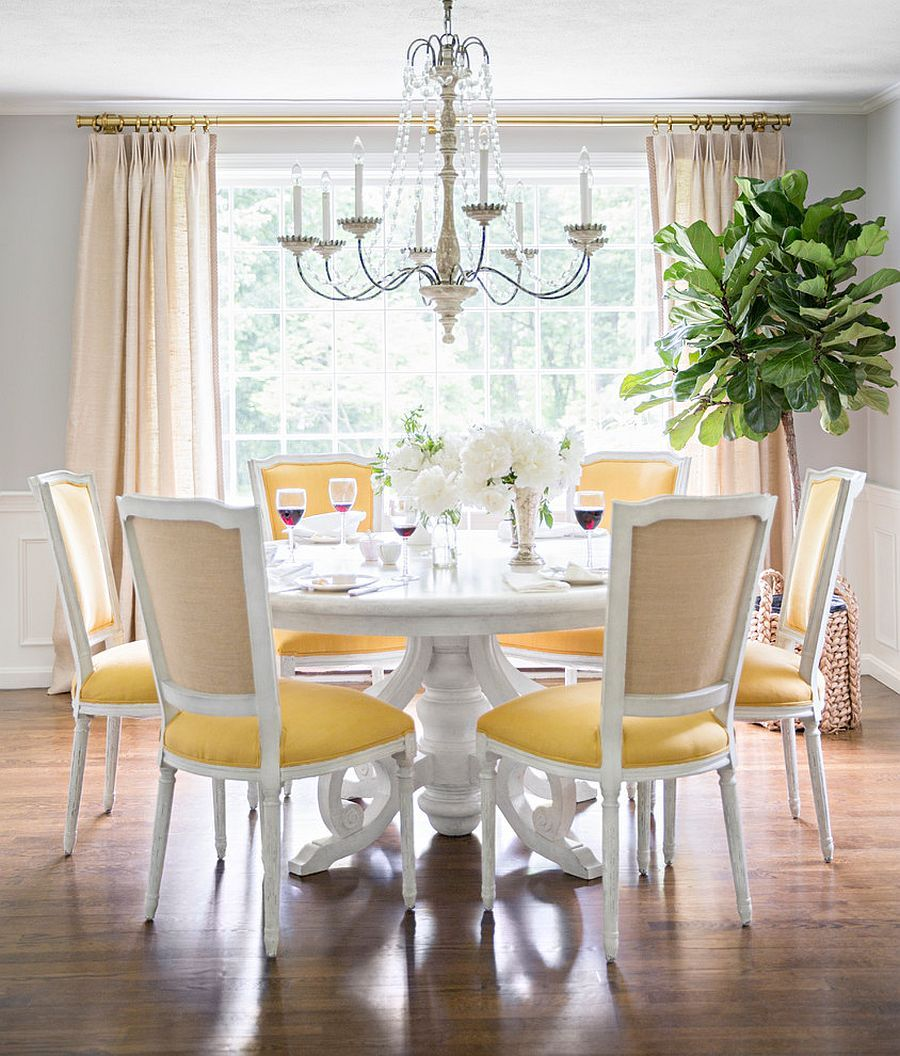 Trendy Color Duo 20 Dining Rooms That Serve Up Gray And Yellow Yellow Dining Chairs Modern Dining Room Yellow Dining Room