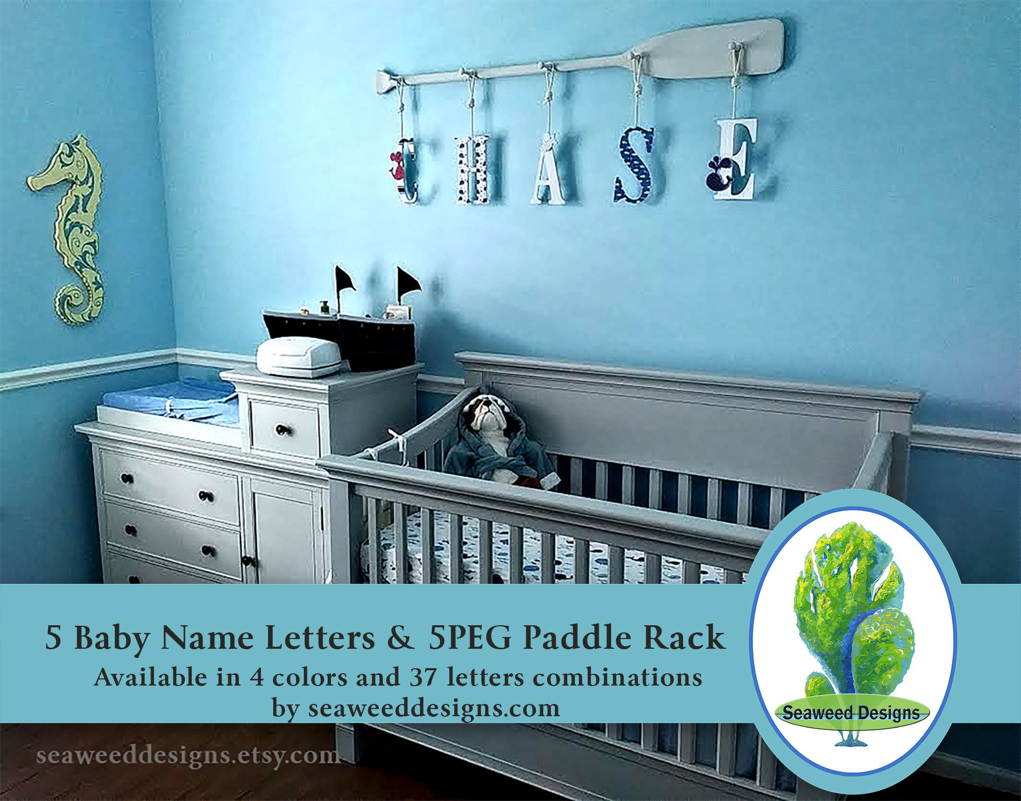 Five Baby Name Letters With 58 5peg Canoe Paddle Rack 9