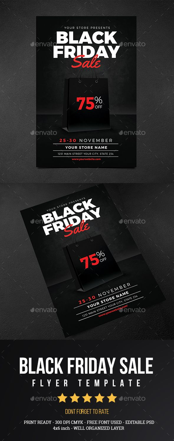 Black Friday Sale Flyer Vol 01 by Guuver Black Friday Sale Flyer VOl 01 FeaturesPsd File 46 inch   Bleed Print ready CMYK 300 DPI Well Organized Layer Full EditableFont Us