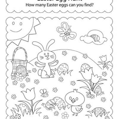 Activity Sheet Hunt For Easter Eggs Coloring Pages With