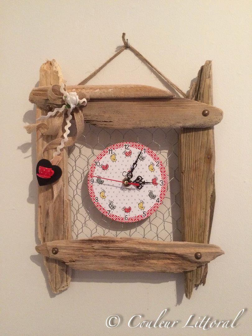 Horloge murale sur cadre bois flotté : Décorations murales par ...