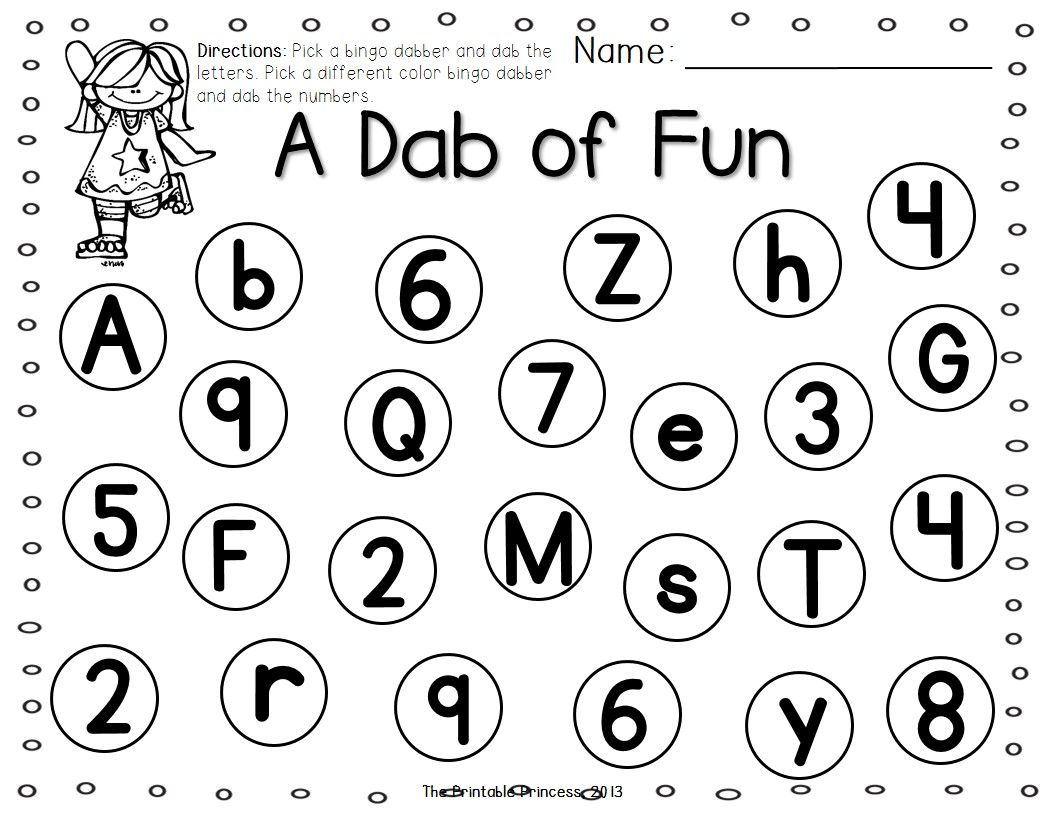 a dab of learning bingo dabber alphabet number recognition Typing Skills beginning literacy skills use a bingo dabber and dab the letters one color use a different color and dab the numbers