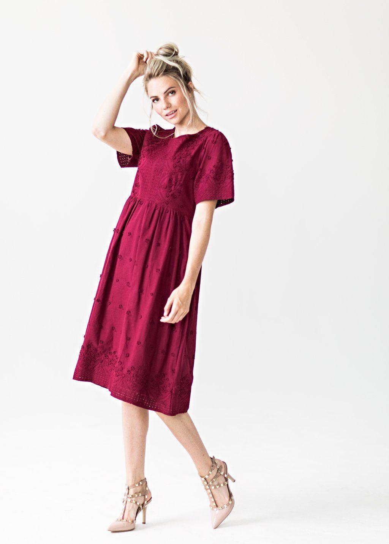 Summer dresses to wear to a wedding  Islay Daydream Dress in Burgundy Modest Dress Summer Dress Modest
