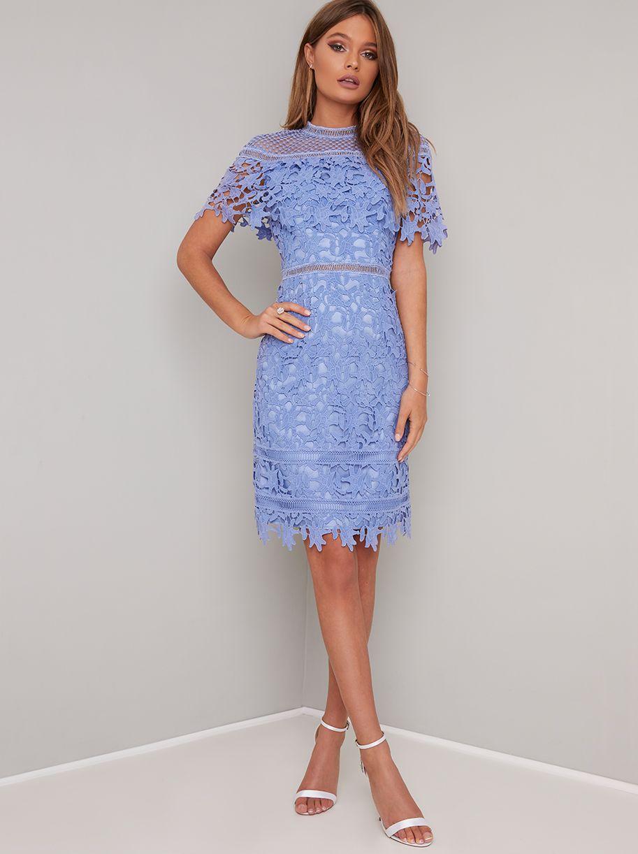 Crochet Lace Bodycon Midi Dress In Blue Crochet Bodycon Dresses Midi Dress Bodycon Wedding Guest Dress Summer