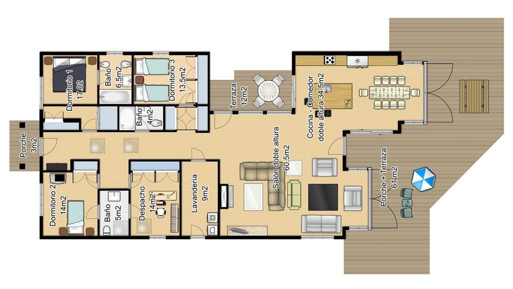 Casa en planta baja alargada casas de una planta casas - Planos casas de una planta ...