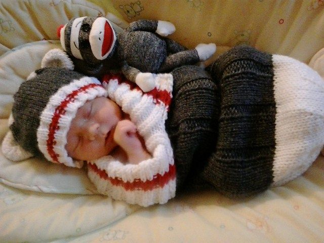 Free knitting pattern for Sock Monkey Snuggly and more baby sleep sack knitti...