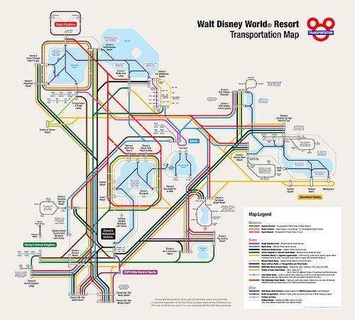 Walt Disney World Resort Transportation Map Print By Arthur De Wolf ...