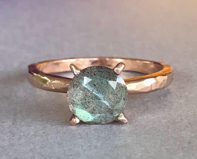 Rose Gold Round Natural Labradorite Hammered Sterling Silver