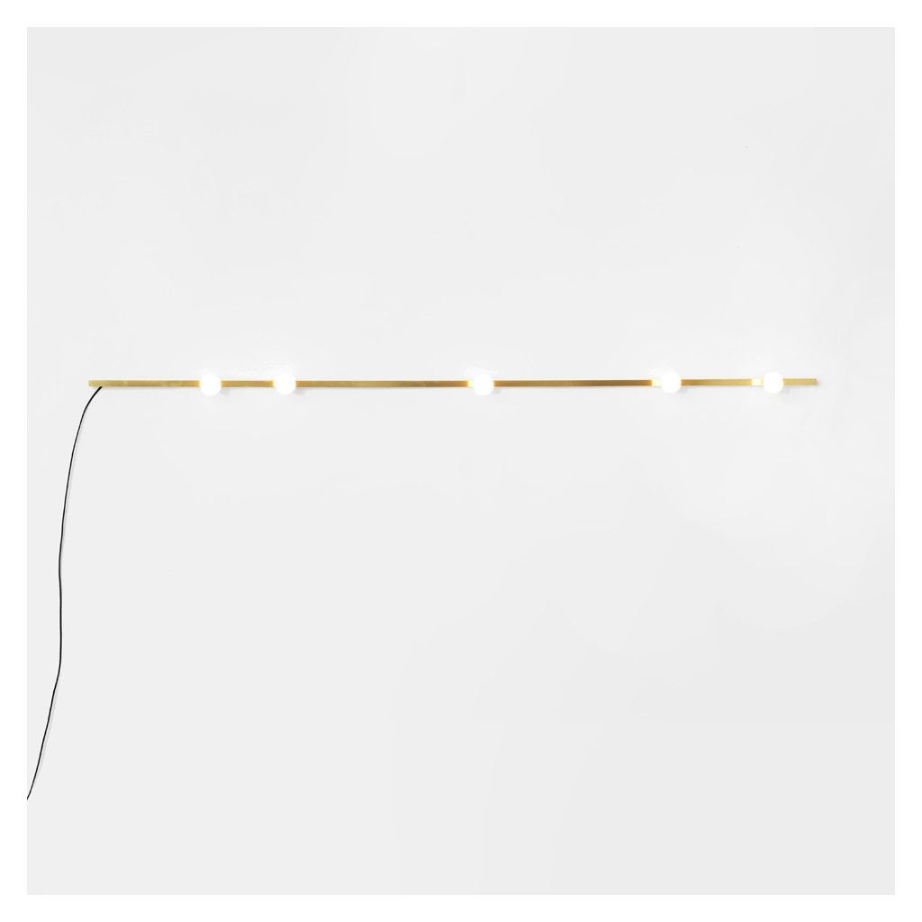 Available Exclusively At The Conran Shop The Brass Dot Line Wall Lamp Is A Minimalist Design By Montreal Based Studio Brass Wall Light Wall Lights G9 Led Bulb