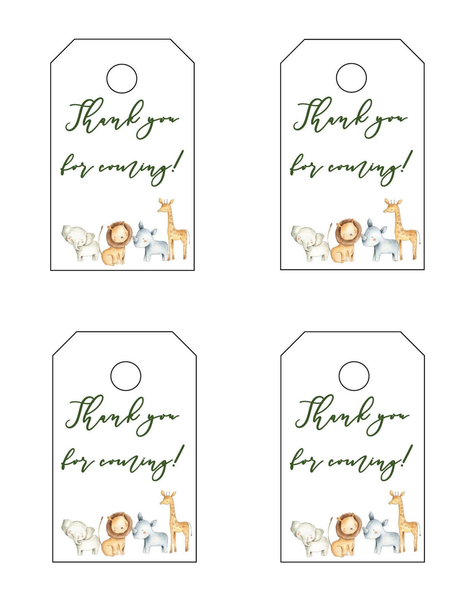 Safari Baby Shower Thank You For Coming Tags Baby Shower Favor Tags Safari Theme Favor Tags Thank You Tags Printable Tags Jungle In 2021 Baby Shower Tags Baby Shower Favor Tags Baby shower favor tags template