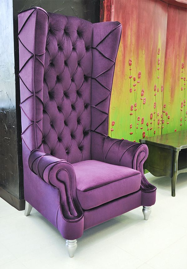 Merveilleux Baroque High Back Chair   Purple Chair