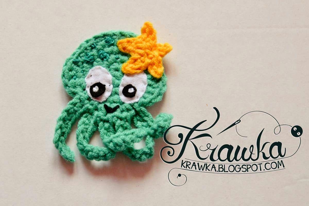 Aplique octopus, application crochet amigurumi cute blue octopus with star underwater creatures, Aplikacja, naszywka szydełkowa, na szydełku ośmiornica z gwiazdką, różowa ośmiorniczka,