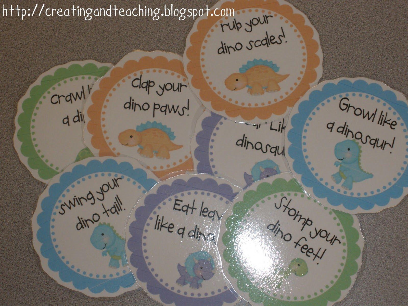 Creating Amp Teaching Dinosaur Action Cards