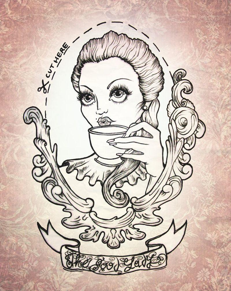 The Good Lady Framed Tattoo Art Sketches Tattoo Illustration