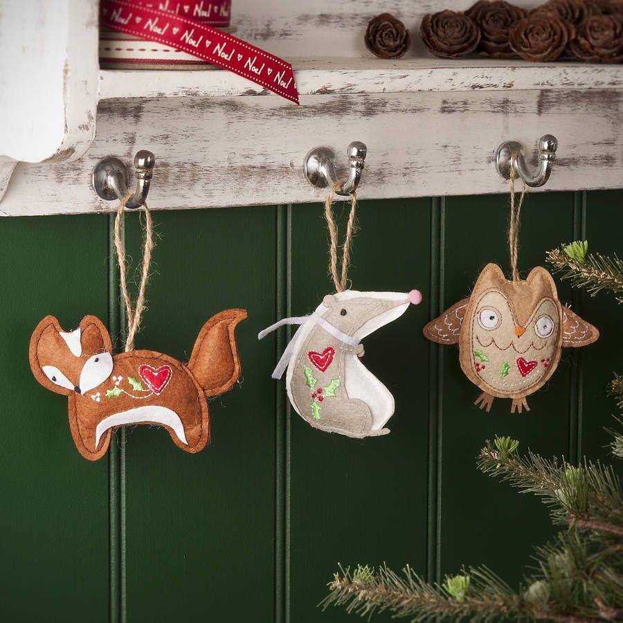 woodland animals christmas tree decorations by the contemporary home | notonthehighstreet.com