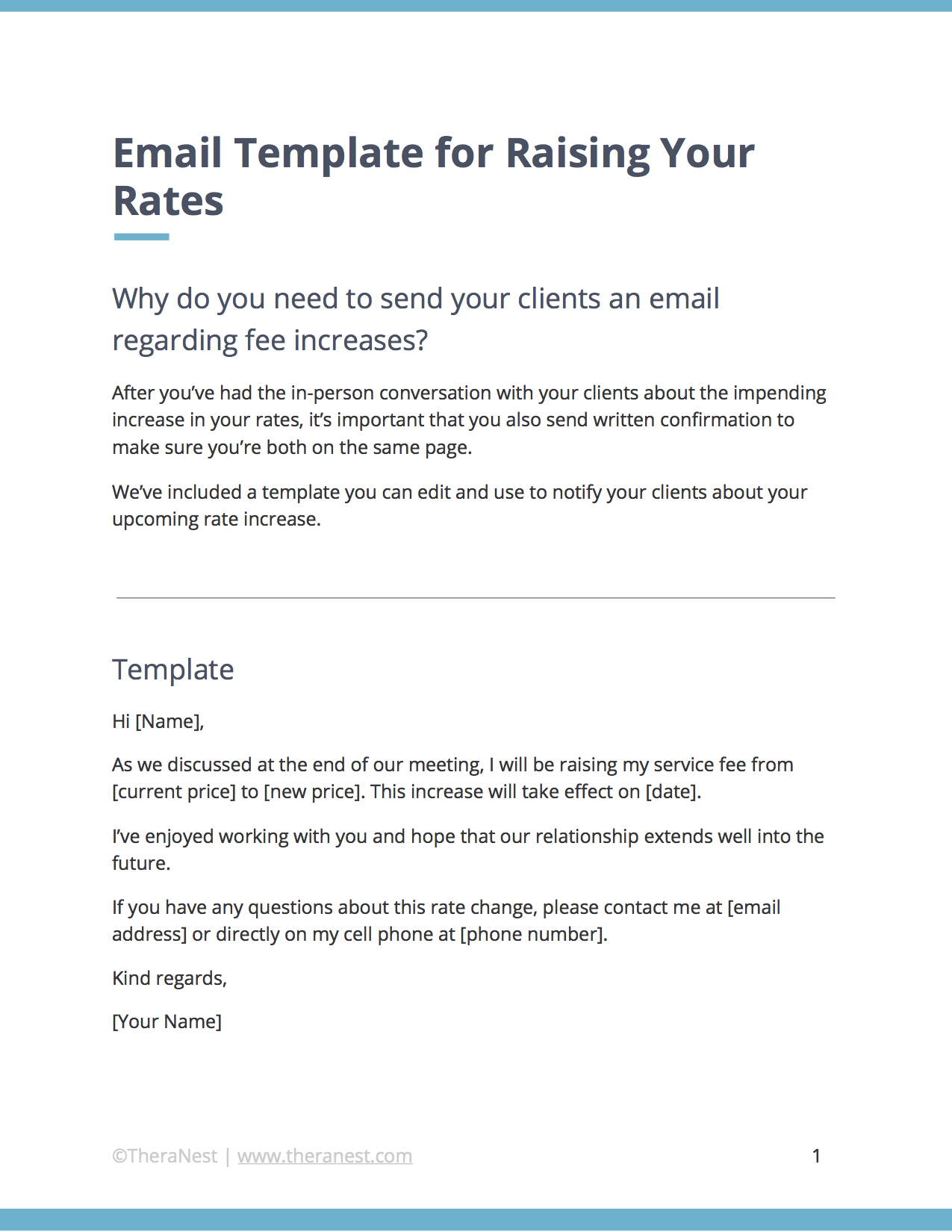 email template to notify clients of a price increase or a