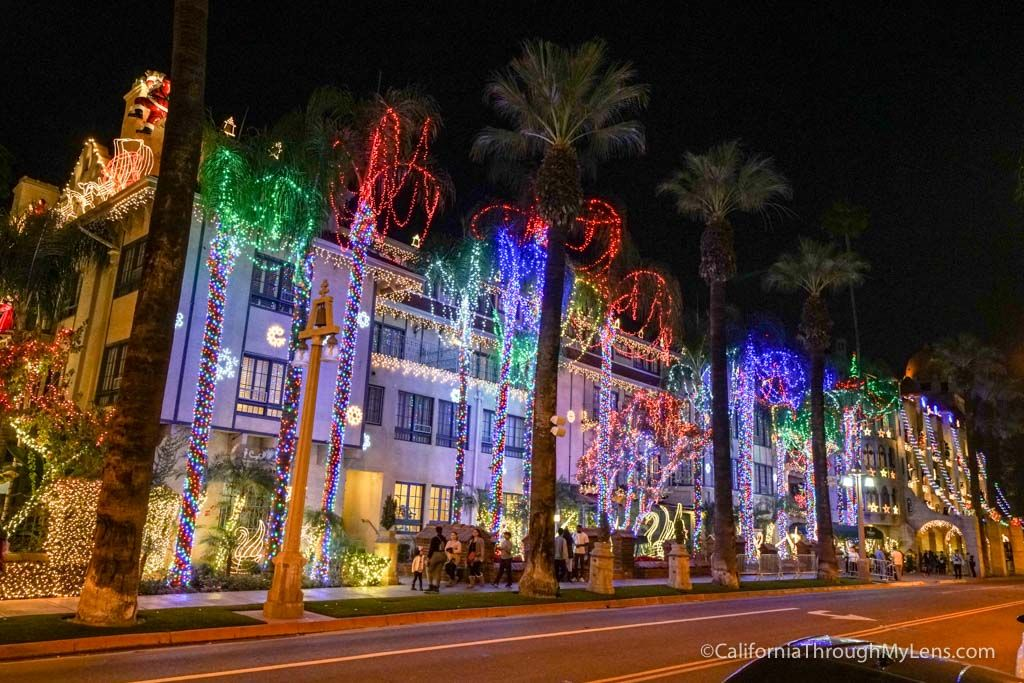 a beautiful display of christmas lights at a historic hotel in downtown riverside great place