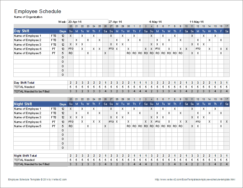 Best 25 schedule templates ideas on pinterest cleaning schedule download the employee schedule template from vertex42 pronofoot35fo Choice Image