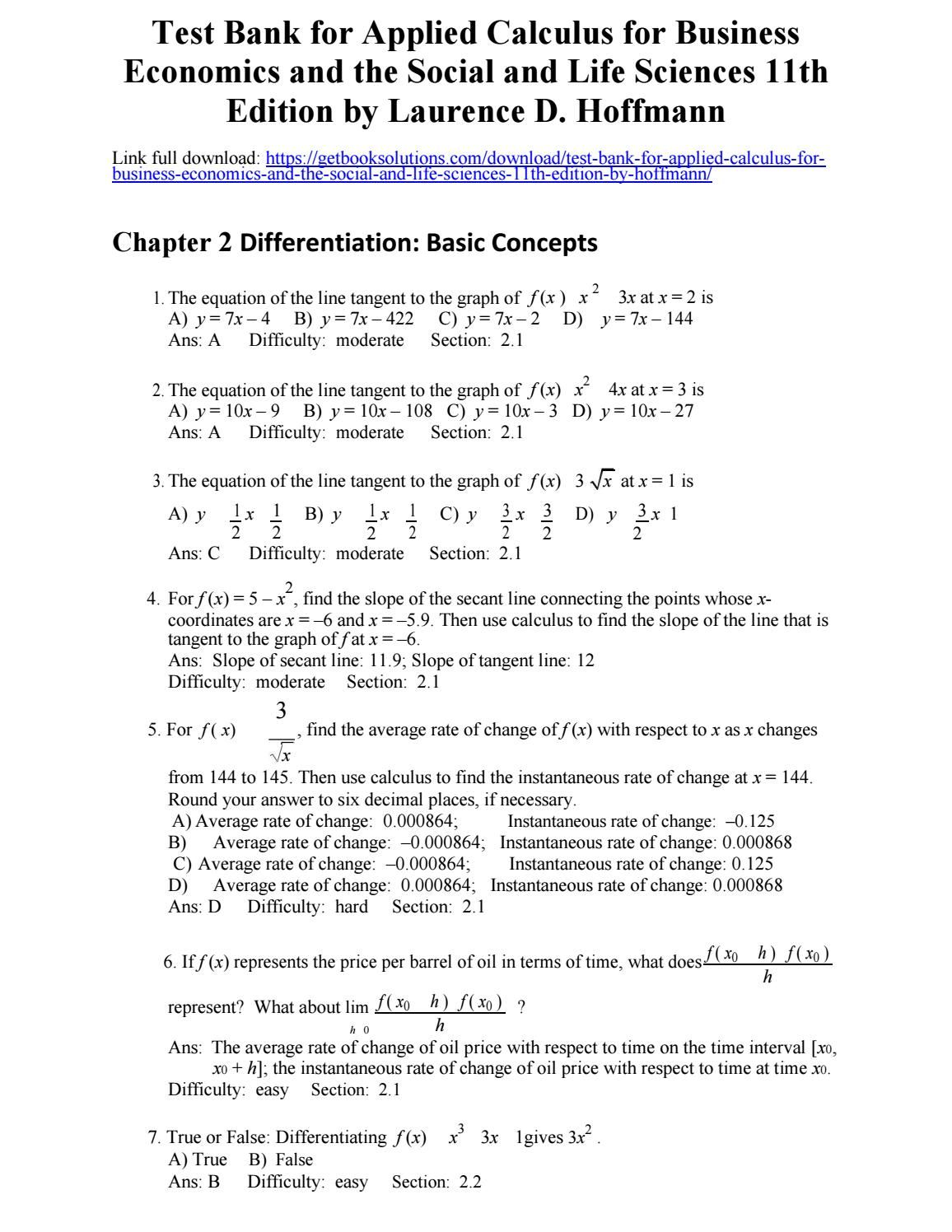 Test bank applied calculus business economics the social life test bank applied calculus business economics the social life sciences 11th edition hoffmann fandeluxe Images
