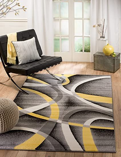 Summit 21 New Yellow Grey Area Rug Modern Abstract Many Sizes Available 7 4 X10 6 In 2020 Modern Area Rugs Modern Rugs Home Decor