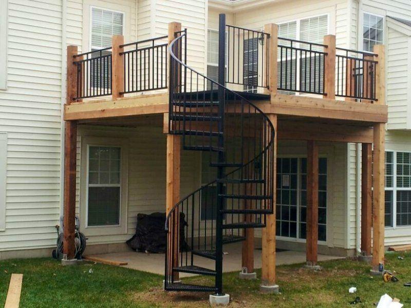 Best Spiral Steps Of The Deck Deck Stair Railing Patio Deck 640 x 480