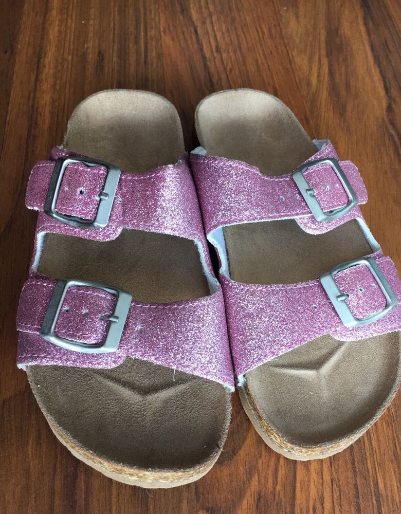 5d142fb7bc7 Girls Double Buckle Strap Slip On Sandal Pink Glitter Cork Footbed Sz 13  New