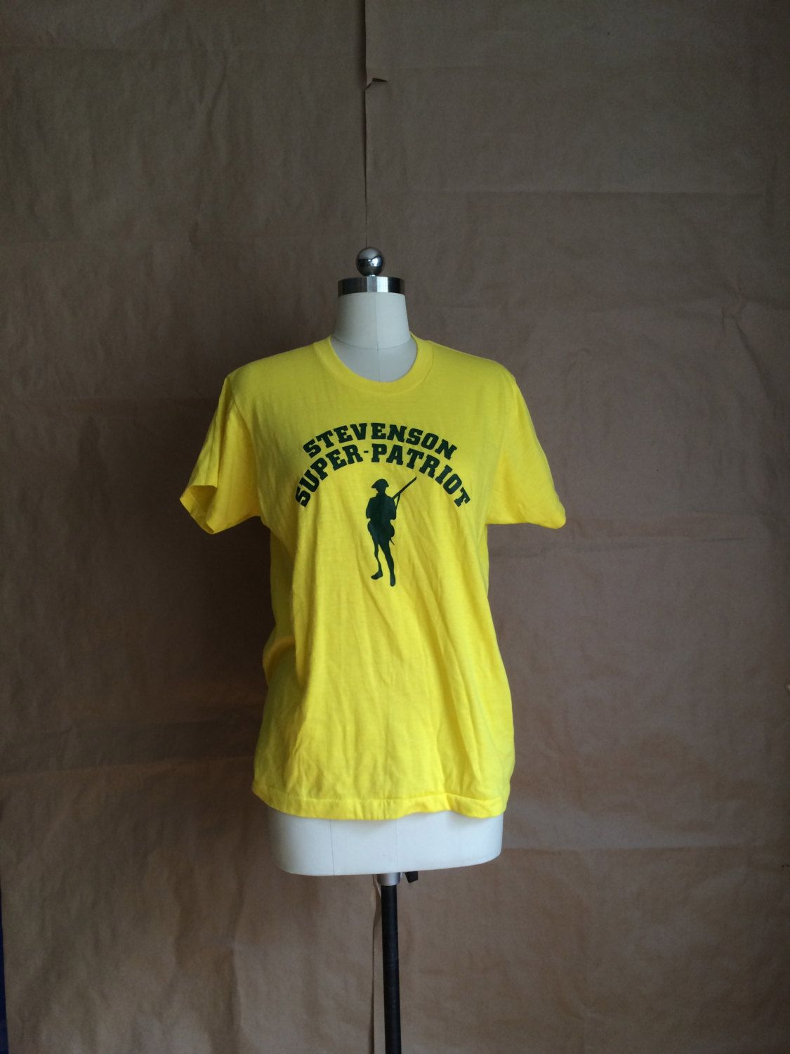 vintage 1980's yellow ironic tee t shirt  50 cotton 50 poly labeled XL by yellowjacketvintage on Etsy