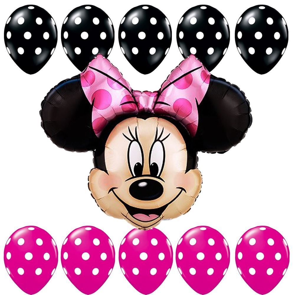 Pink And Black Minnie Mouse Decorations Birthday Party Supplies Minnie Mouse Pink Black Polka Dots Foil